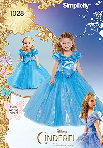 Simplicity Disney's Cinderella Halloween Costume Sewing Pattern for Girls and 18'' Dolls, Sizes 3-8 -