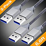 Powerman USB 3.0-USB to USB Cable-SuperSpeed A to A Male to Male Cable [2Pack,6.6Ft] Double End USB Cable Wire USB3.0 Double Sided USB Cord Charger 2 Sided USB Cables Cord Charging M/M for USB Coupler