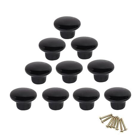 un solo agujero Pomos y Tiradores de Muebles 30mm Pomos para Puertas pomos redondos tirador para caj/ón Armarios de Cocina,Cajones Natuce 10PCS Negro Pomo de armario redondo B
