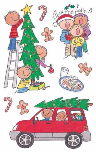 Me & My Big Ideas Mambi 4-1/2 Inch by 6 Inch Minis Stickers 3 Sheets/Package, Deck The Halls by Me & My Big Ideas