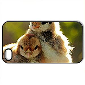 Baby Chicks - Case Cover for iPhone 4 and 4s (Birds Series, Watercolor style, Black)
