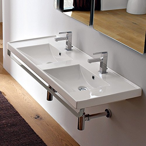 Scarabeo Scarabeo 3006-TB-Two Hole ML Double Basin Wall Mounted Ceramic Sink with Polished Chrome Towel Bar, White best