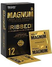 Trojan Magnum grote geribbelde en glijdende condooms met hoogwaardige latex - 12 stuks