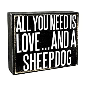 JennyGems - All You Need is Love and a Sheepdog - Wooden Stand Up Box Sign - Sheepdog Gift Series, SheepdogMoms, Sheepdog Lovers, Sheepdog Decor, Sheepdog Sign, Sheepdog Gift, Shelf Knick Knacks 13