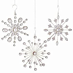 Vintage Pearl Snowflake Orns , Set of 3