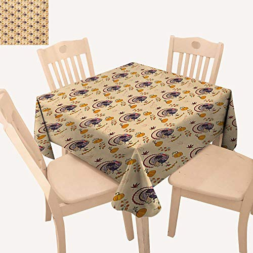 Angoueleven Thanksgiving Outdoor Picnics American Style Turkey Pumpkin Seeds Cranberry Maple Fall Season Rustic Life Dining Table Cover Multicolor W 36