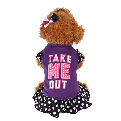 OOEOO Puppy Apparel, Summer Costume Dog Cat Pet Clothes Take Me Out Dress Doggie Shirt (Purple, XS)