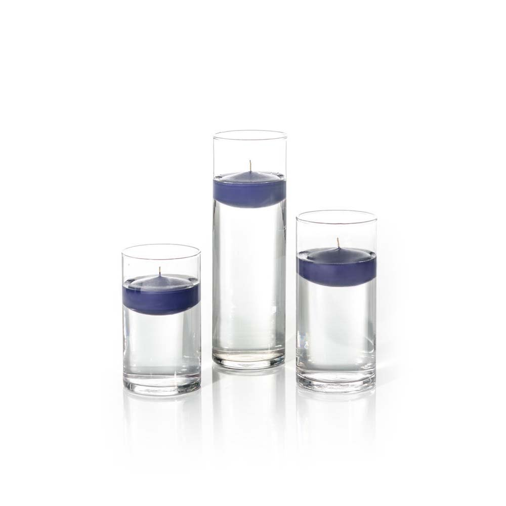 Yummi Set of 18 Floating Candles and Cylinder Vases - Navy Blue by Yummi