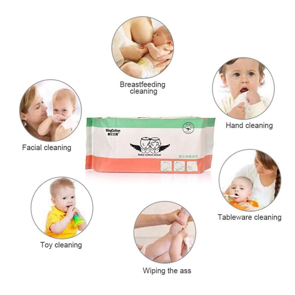 Gesichtswaschentücher, MOGOI, 100 % natürliche Baumwolle, weich und fusselfrei, Baumwolle, groß zum Entfernen von Gesichts-Augen, schweres Make-up, Nagellack und zarte Hautpflege für Babys (20 x 20 cm), 60 Stück Gesichtswaschentücher 60 Stück