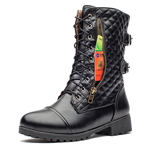 MORNISN Military Combat Boots Lace up Buckle Mid-Calf Credit Card Pockets Winter Boots For Women - stylishcombatboots.com