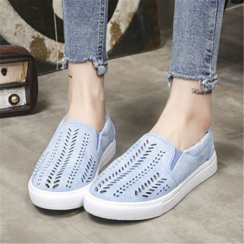 OrliverHL Women Hollow Out Pu Leather Loafers Shoes Casual Flats Slip On Thick Lazy Shoes