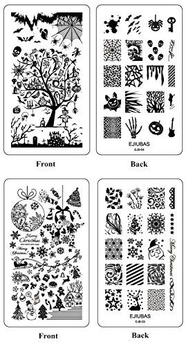Ejiubas Stamping Plates Halloween Nail Stamping Kits Christmas Image Nail Art Plates Manicure Tools Double-sided 2 Counts