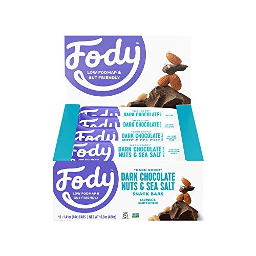 Fody Foods Vegan Protein Nut Bars | 8g Protein Snack Bar | Low FODMAP Certified | Gut Friendly IBS Friendly Snacks | Gluten Free Lactose Free Non GMO | Dark Chocolate Nuts and Sea Salt, 12 Count ()