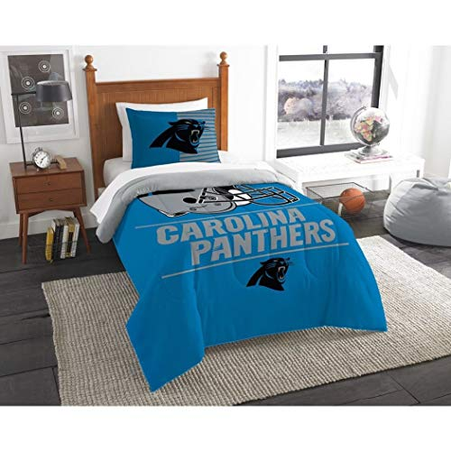 2 Piece NFL Carolina Panthers Comforter Twin Set, Sports Patterned Bedding, Featuring Team Logo, Fan Merchandise, Team Spirit, Football Themed, National Football League, Blue Black Grey