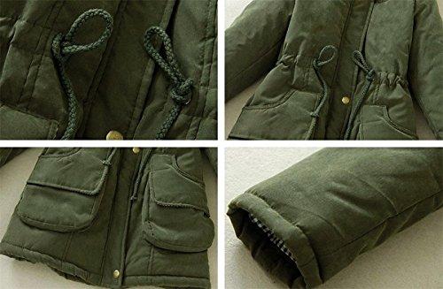 Pocket de Style Manteau Hiver Militaire Olive Capuche Fourrure Fourrure Vert avec Parka Col Sugar Chaud Femme dq6FwdSB