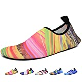 Men Women Kids Water Shoes Summer Quick Dry Barefoot Aqua Socks for Yoga Swim Pool Beach Game Surf Diving Gym Exercise, Multicolor A W: 7-7.5 / M: 6-6.5