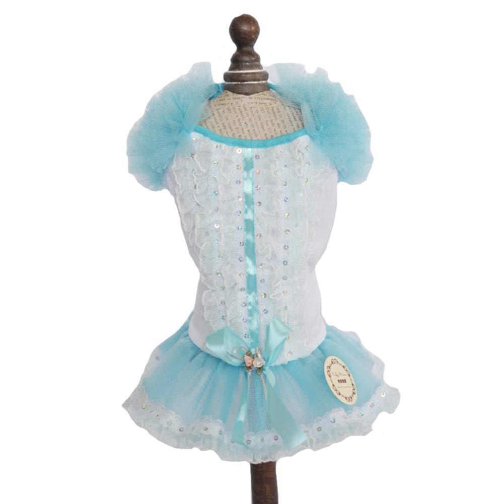 bluee XSPrincess Wedding Dresses Cute Sweet Small Dog Pearl Puff Sleeve Lace Tutu Skirt Flower Dog Pet Cat,Pink,XL