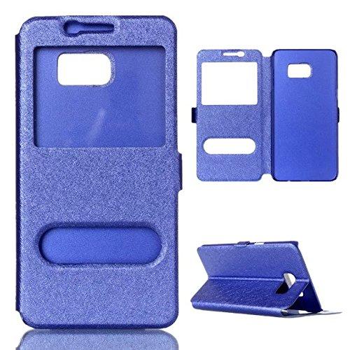 Carcasas y fundas Móviles, Para Samsung Galaxy S7, Color sólido PU cuero con soporte doble ventana abierta Patrón de seda Funda protectora para Samsung Galaxy S7 (Contestar o rechazar llamadas sin abr Blue