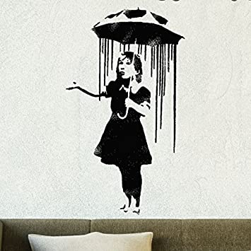 Banksy Schablone - Nola Regenschirm Regen Girl wiederverwendbar Heim ...