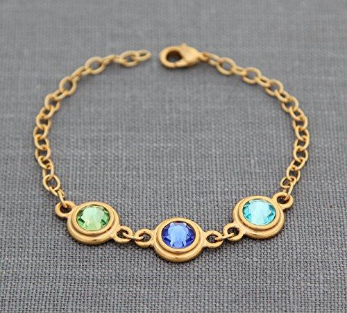 Gold Birthstone Bracelet for Mom, Personalized Mother Child Jewelry with custom Swarovski Crystal Birthstones