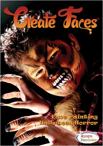 Create Faces Face Painting: Halloween Horror. Watch & Learn How To Do 8 Face Paint Designs With Water Based & Snazaroo Paints. 1 Hour 52 Minutes Step By Step Video. Werewolf, Vampire, Living Dead/Zombie, Mummy, Skull, Half-Skull, & Frankenstein Styles. -