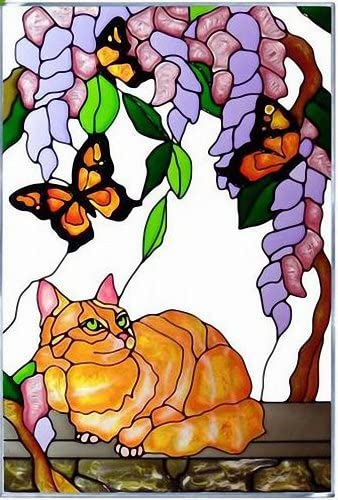 Tabby Cat Yellow Butterfly Vertical Art Glass Panel Wall Hanging Suncatcher 20 x 14