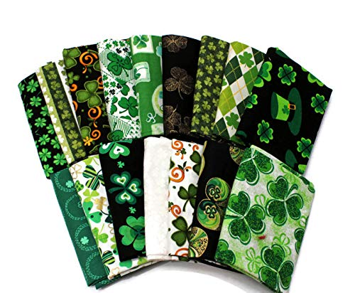 10 Fat Quarters - St. Patrick's Day St. Paddy's Day Shamrocks Clover Gold Green Luck of The Irish Assorted Quality Quilters Cotton Assorted Fat Quarter Bundle M491.09