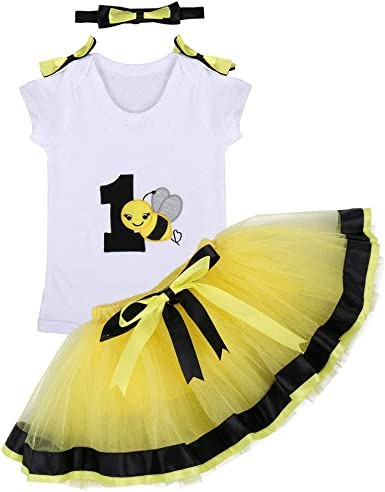 Baby Girl 1st Birthday One Outfits Sleeveless Bee Romper+Bow Tutu Skirt Summer Clothes