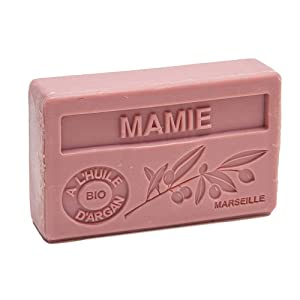 Maison du Savon de Marseille - French Soap made with Organic Argan Oil - Grandmothers Fragrance (Mamie) - 100 Gram Bar