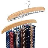 [2-Pack] Belt Hangers, EZOWare Adjustable 24 Tie Belt Scarf Racks Holder Hook Hanger for Closet Organizer Storage - Beige