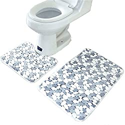 AIRCEE 2PCS Rugs Stones Design Memory Foam Toilet Bathroom Floor Mats Carpet