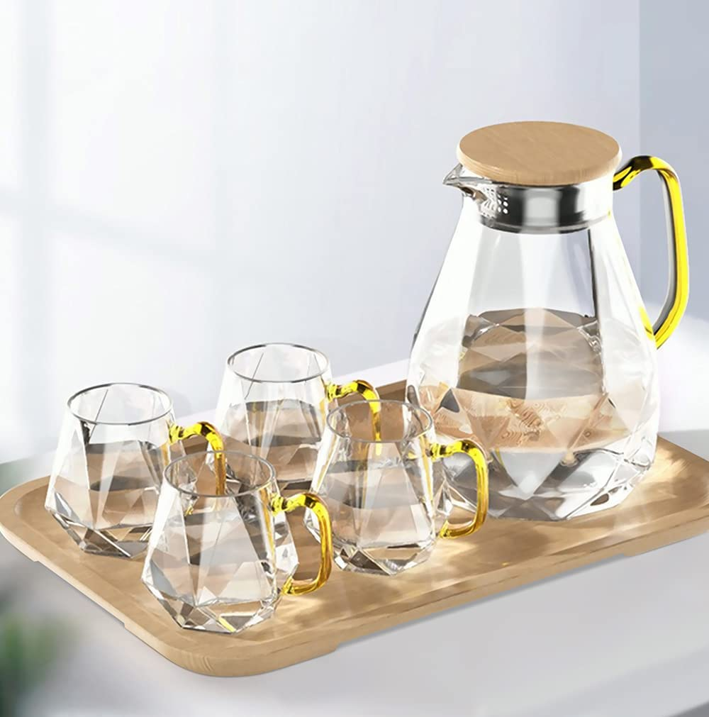 DUJUST Glass Pitcher with 4 Cups, 1 Tray, Elegant Diamond Design Water Pitcher with Handle, Decoration for Room, High Durability Water Glass Carafe for Ice Tea Pot, Beverage, Hot/Cold Coffee