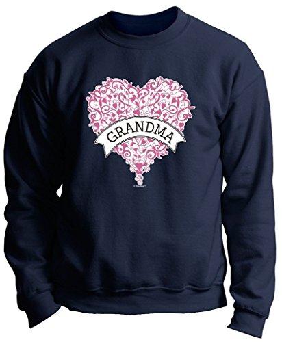 Heart Crewneck Sweatshirt - ThisWear Best Grandma Ever Grandma Gift Pink Heart Banner Premium Crewneck Sweatshirt XL Navy