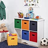 Sturdy Toy Storage White Cabinet With 6 Colorful Bins