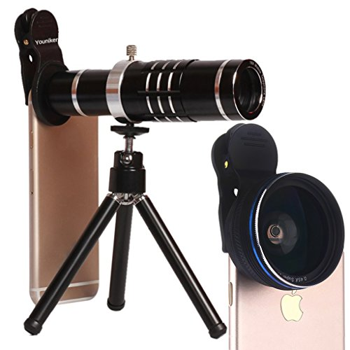 Youniker 3 in 1 Universal Camera Lens,18X Zoom Telephoto Lens+0.45X Wide Angle Lens+12.5X Macro Lens,Clip-on Cell Phone Camera Lens for iPhone 8/7/6 Plus,Samsung,Most Smartphones With Tripod (Black) by Youniker