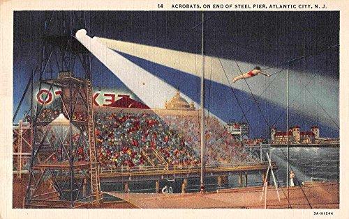 atlantic-city-new-jersey-view-of-acrobats-steel-pier-linen-antique-pc-z23489