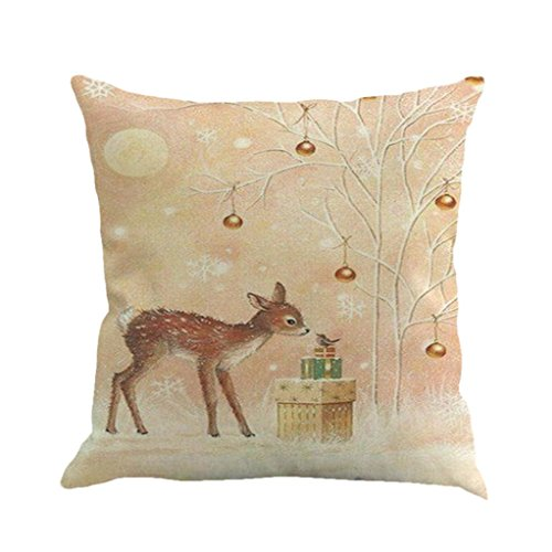 Xmas Throw Pillow Covers, Keepfit Merry Christmas Home Decor Pillow Case Holiday Season Decorations for Couch, Chair, Sofa, Assorted Designs (Christmas Deer)