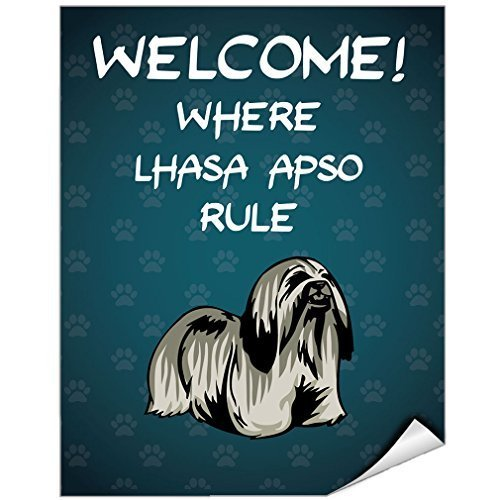 EvelynDavid Welcome Where Lhasa Apso Dog Rule Vinyl Label Decal Sticker 12 inches x 18 (Warning Lhasa Apso)