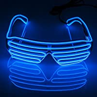 Fronnor Blinking Party decorative LED Glasses El Wire Fashion Neon LED Light Up Shutter Shaped Rave Costume Party DJ Bright Glasses For Halloween ,Party Favors (Blue)