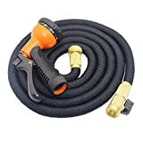 INorton 100FT Garden Hose Expandable Magic Flexible Hose, Brass Connector and 8-pattern Nozzle for Watering Plants,Showering Pets,Cleaning Patio,Cleaning Car