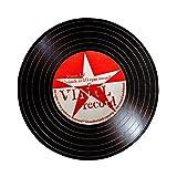 Wolala Home™ Cartoon Red Star Music LP Striped Round Area Rug Modern Creative Kids Room Computer Chair Mats (3'3x3'3, Record)
