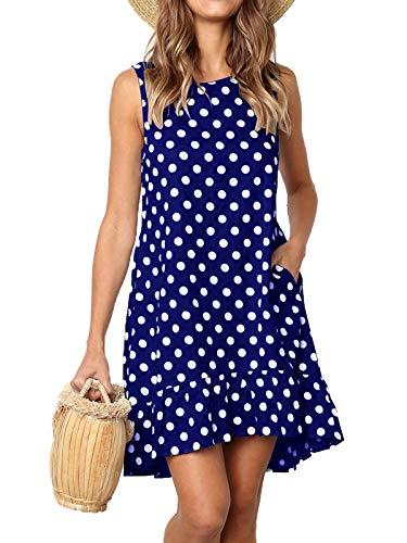 MISSLOOK Women's Sleeveless Ruffle Dress Round Neck Loose Swing Shift Dress with Pockets - Light Blue L