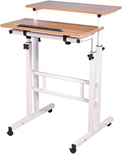 Soges Adjustable Mobile Stand Up Desk Standing Desk Computer Desk Workstation Sit-Stand Desktop Standing Desk, Oak Color 101-OK