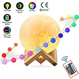 Cheap Zahala Moon Lamp with 16 Colors,3D Print Moon Light with Wooden Stand & Remote & Touch Control and USB Recharge,PLA Material,Lovely Night Light for Baby Kids Lover Birthday Party Gifts
