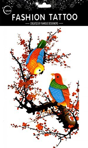 Spestyle fake tattoos that look real Large design sparrows are resting on the plum tree fake temp tattoo stickers women for chest,belly,back,leg,etc. by SPESTYLE