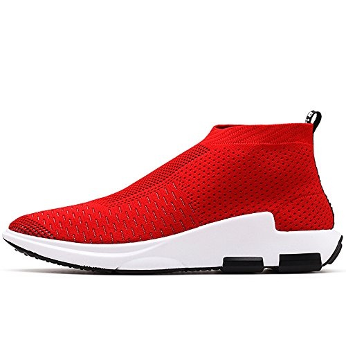 VILOCY Men Outdoor Lightweight Slip On Running Shoes Casual Breathable Walking Trainers Sneakers Red PIlPL
