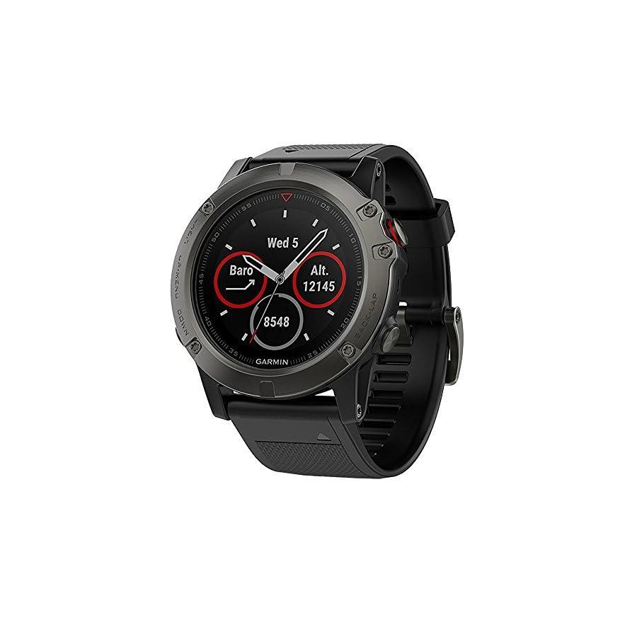 Garmin Fenix 5X Sapphire Multisport 51mm GPS Watch Slate Gray with Black Band (010 01733 00) + 1 Year Extended Warranty
