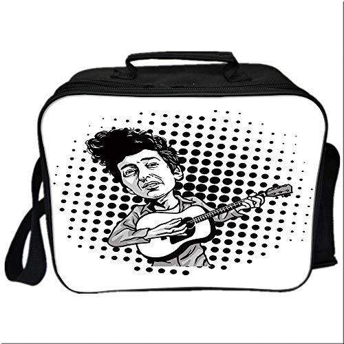 Bob Dylan Decor Lunch Box Portable Bag,Pop Art Cartoon Style Musician Playing Guitar Folk Music Singer Icon Decorative for Kids Boys Girls,10.6