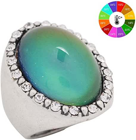 Mood Ring Handmade Zinc Alloy Antique Sterling Silver Plated Oval Shape Temperature Sensing Color Changing Stone Finger Big Rings for Women Fashion RS027