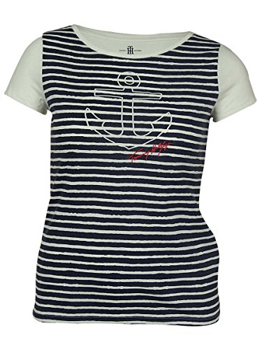 Tommy Hilfiger Women's Stretch Fabric Striped Anchor Graphic Print Top